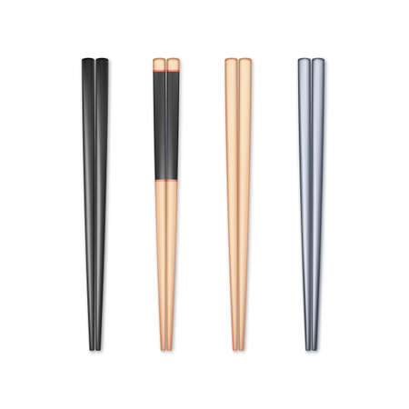 Set of realistic chopsticks. Chopstick element Asian or oriental traditional culture. Vector isolated on white