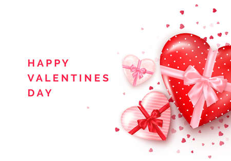 Valentines day greeting card. Heart shaped gift boxes with silk bow and confetti on background. Vector illustration