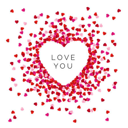 Heart shape lined with red color paper hearts. Happy Valentine`s Day greeting card background. Love you message. Vector illustration