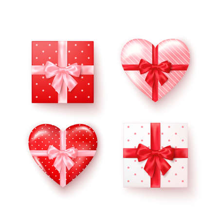 Set of gift boxes with silk bows in realistic style top view. Square and heart shape boxes. Vector