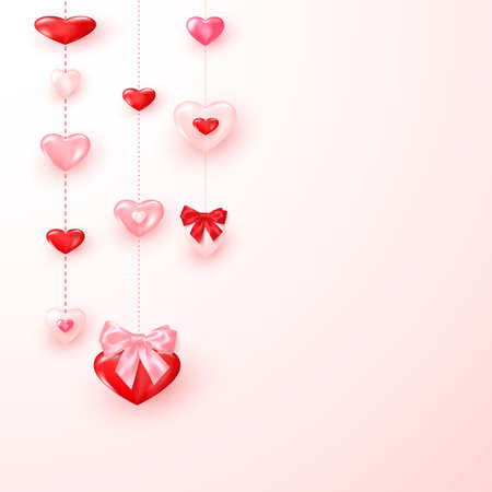 Valentine card ornate shiny red and pink hearts. Valentine`s day greeting card template. Vector