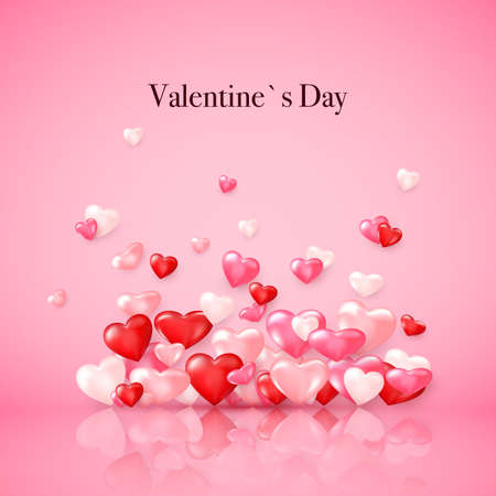 Groupe of glossy red hearts with reflection. Valentines day decoration element. Vector illustration on pink background