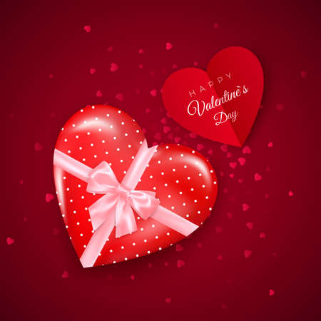 Gift in hearts shaped box with pink silk bow and Valentine`s greeting card. Present for Valentine's day decorated confetti. Vector
