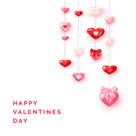 Valentine`s day greeting card template. Valentine card ornate shiny red and pink hearts. Vector Stok Fotoğraf - 162186086