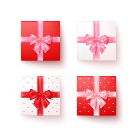 Set of gift boxes with silk bows in realistic style top view. Vector