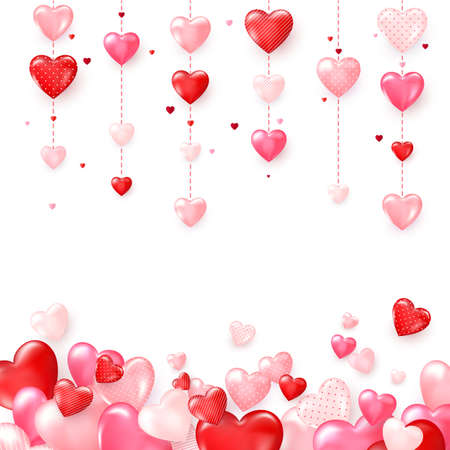 Vertical colorful heart garlands. Valentines Day romantic background. Vector illustration isolated on white