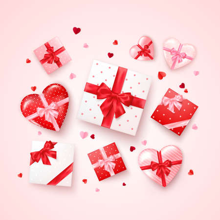 Set of gifts in square and hearts shaped boxes with silk ribbon and bow. Present for Valentine's day decorated confetti. Vector Stok Fotoğraf - 162186087