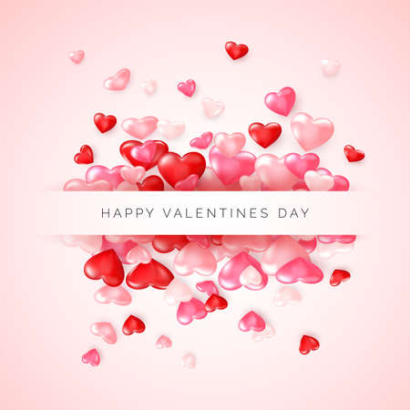Valentine's day greeting card. Confetti glossy red heart on pink background with frame and lettering Happy Valentines day. Vector Çizim