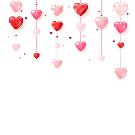 Vertical colorful heart garlands. Valentines Day romantic background. Vector