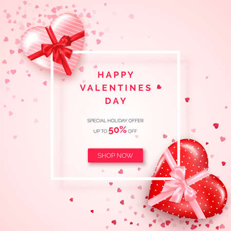 Valentines day holiday offer. Web banner with white frame decorated gifts in hearts shaped boxes with silk ribbon and bow. Vector