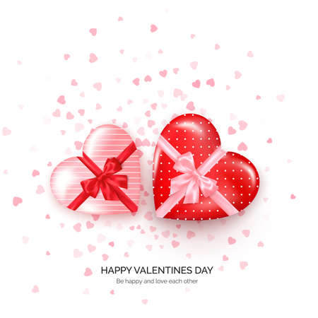 Heart shaped gift boxes with silk bow and confetti on background. Valentines day greeting card. Vector illustration Çizim