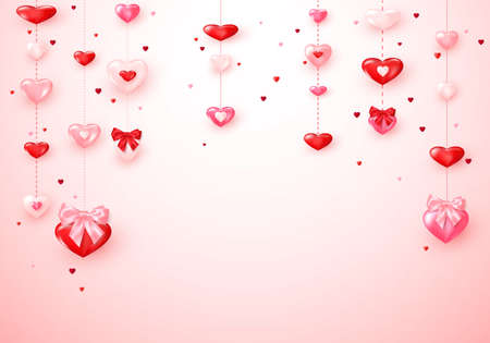 Heart garlands. Valentines Day romantic background hearts with silk bows. Vector Çizim