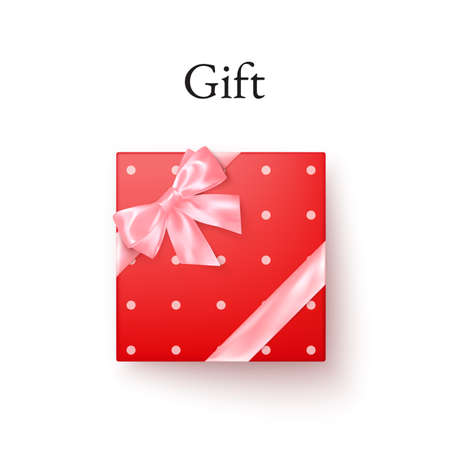 Red gift box with pink silk bow in realistic style top view. Vector illustration