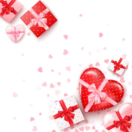 Set of gifts in square and hearts shaped boxes with silk ribbon and bow. Present for Valentine's day decorated confetti. Template for banner or greeting card. Vector