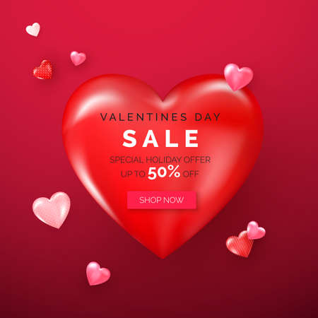 Valentines day holiday offer on big red heart. Web banner with red and pink hearts. Vector Çizim