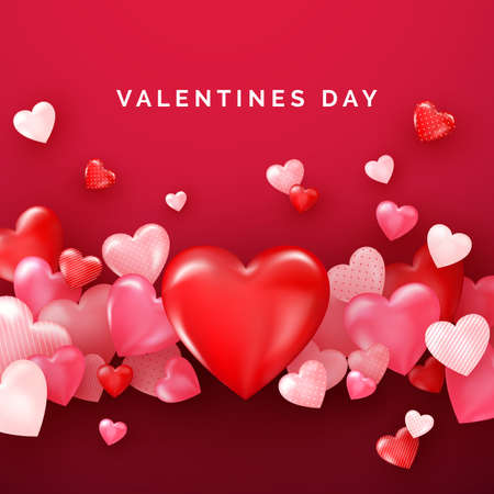 Valentines card with red shiny hearts. Bright Valentine`s day background. Vector Çizim