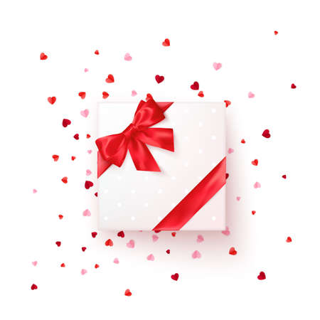 Square gift box with red silk ribbon and bow. Present for Valentine's day decorated confetti. Vector