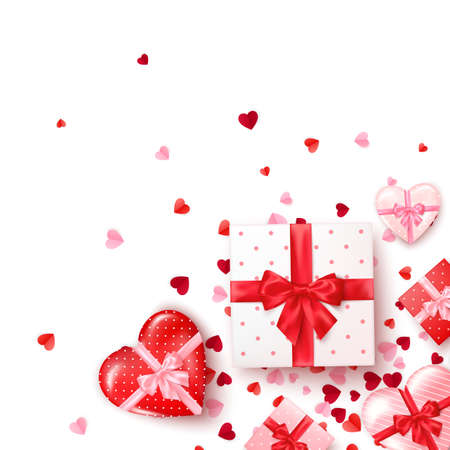 Gifts in square and hearts shaped boxes with silk ribbon and bow. Present for Valentine's day decorated confetti. Template for banner or greeting card. Vector Çizim