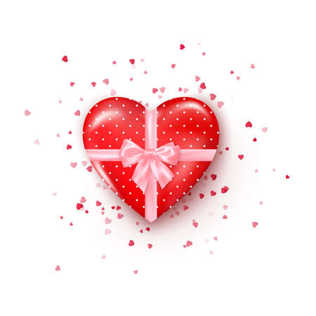 Gift in hearts shaped box with pink silk ribbon and bow. Present for Valentine's day decorated confetti. Vector Stok Fotoğraf - 162180341