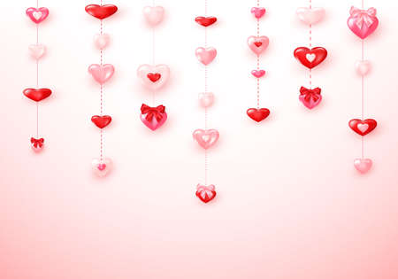 Garland from pink and red hearts. Happy Saint Valentine's day card. Vector illustration