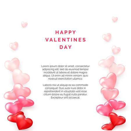 Valentine card with side frame from hearts. Romantic decoration element for Valentines Day or Womens Day. Vector illustration isolated on white background