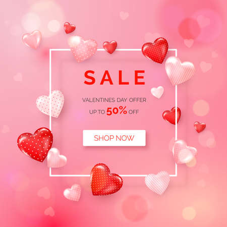 Valentines day holiday offer. Web banner with white frame decorated hearts. Vector