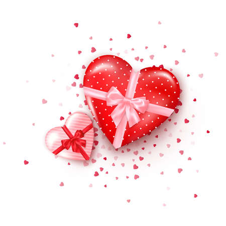 Couple gifts in hearts shaped boxes with silk ribbon and bow. Present for Valentine's day decorated confetti. Vector