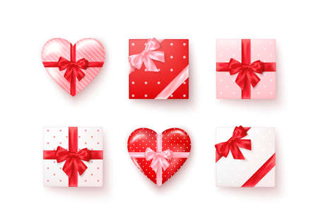 Set of gift boxes with silk bows in realistic style top view. Square and heart shape boxes different colors. Vector