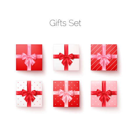Realistic set of gift boxes with silk bows top view. Square and heart shape boxes. Vector