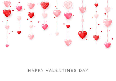 Happy Saint Valentine's day card. Hanging pink and red hearts. Vector