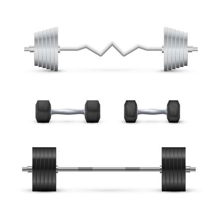 Set of dumbbells and barbells. Fitness and bodybuilding equipment. Vector Ilustrace
