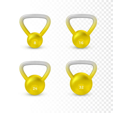 Set of realistic kettlebell. Weight of different kilograms. Equipment for bodybuilding and workout. Vector