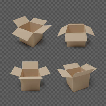 Set of boxes isolated on transparent background. Realistic collection of open package. Vector