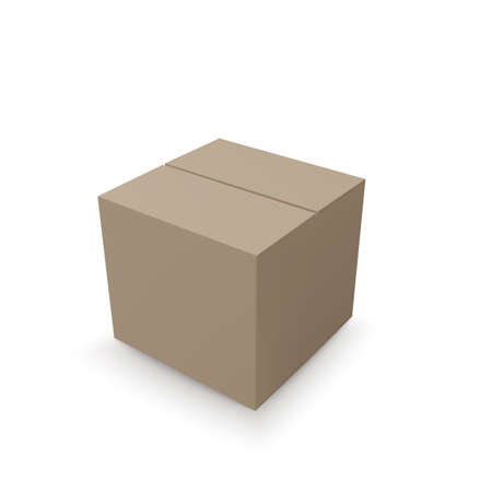 Closed isometric box. paper parcel. Realistic carton. Vector illustration