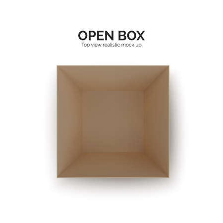 Open box top view. paper parcel. Realistic carton. Vector illustration isolated on white Ilustrace