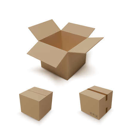 Open isometric box and closed parcel. Realistic carton. Vector