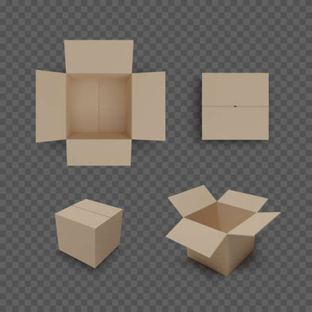 Set of boxes isolated on transparent background. Realistic color collection of package. Vector