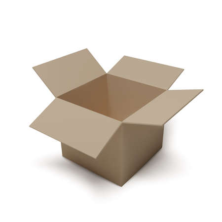 Open isometric box. Empty paper parcel. Realistic carton. Vector illustration Ilustrace