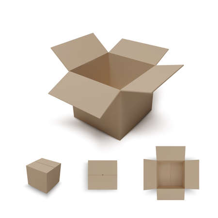 Open isometric box and closed parcel. Realistic carton. Isometric and top view. Vector