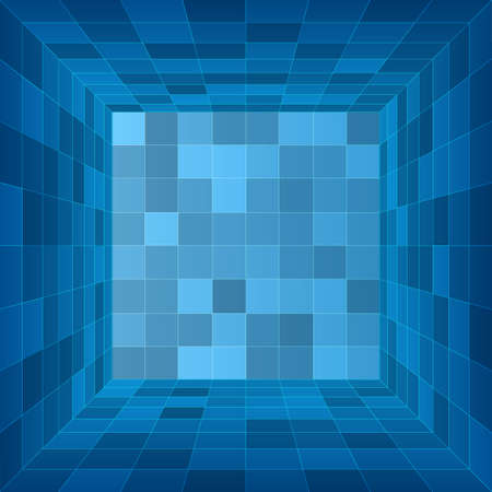 Empty 3d room. Blue container inside view. Vector illustration Ilustrace