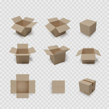 Box collection on transparent background. Carton open and closed container. Brown packaging set. Vector