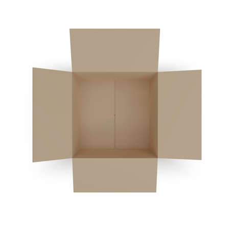 Open box top view. paper parcel. Realistic carton. Vector illustration