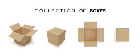 Set of boxes. Realistic color collection of package. Vector isolated on white