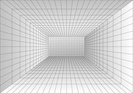 Perspective grid room. Wireframe abstract cube. Data digital visualization. Vector illustration Ilustrace