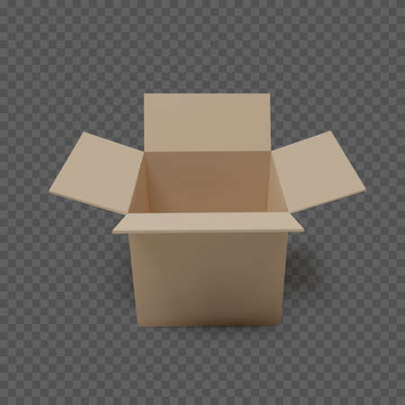 Open box front view. Empty paper parcel. Isolated realistic carton. Vector illustration
