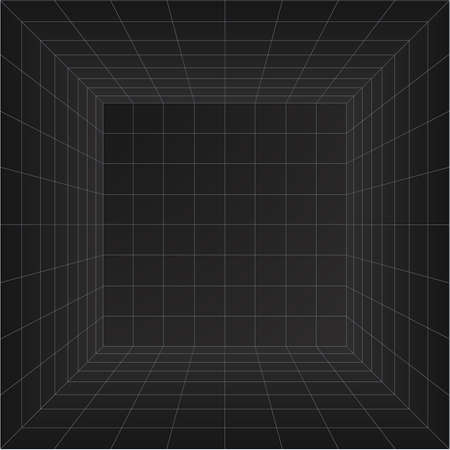 Perspective grid room. Wireframe abstract cube. Data digital visualization. Vector