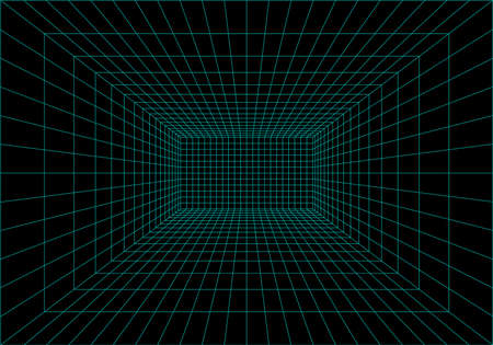 Inside of virtual reality. Interior perspective grid. Wireframe of digital data. Vector Ilustrace