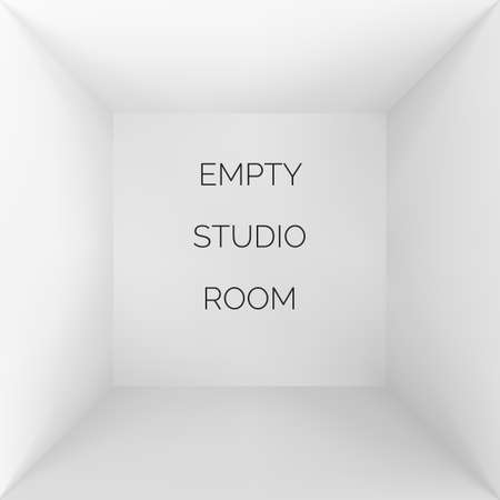 Empty 3d studio. White container inside view. Wrapping or box template. Vector
