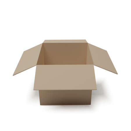 Open box. Empty paper parcel. Realistic carton. Vector illustration