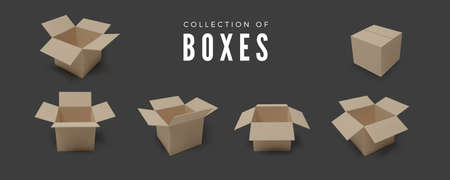 Set of boxes. Realistic color collection of package. Vector